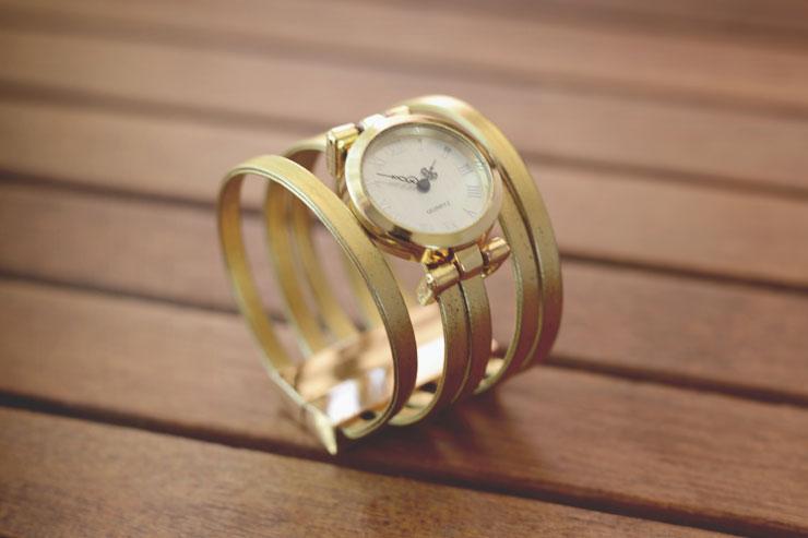 DIY bracelet manchette montre gold