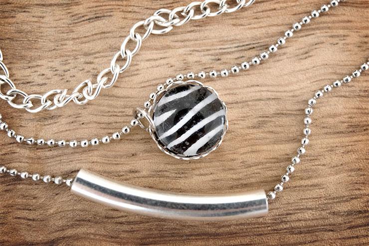 DIY bijoux _ collier 3 chaines et pendentif cabochon