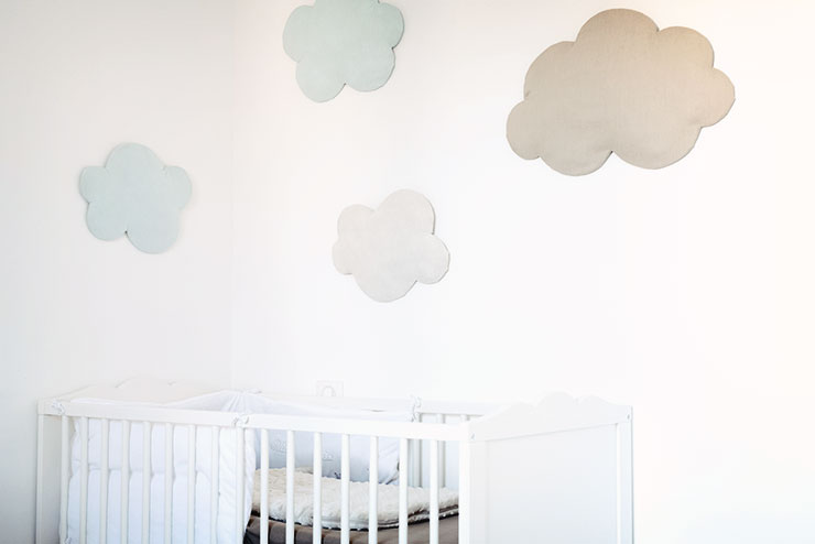 diy d co nuage mural et molletonn en tissus. Black Bedroom Furniture Sets. Home Design Ideas